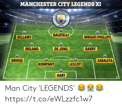 Manchester: MANCHESTER CITY LEGENDS XI  CITY  MORTLE F 0  BALOTELLI  BELLAMY  WRIGHT-PHILLIPS  IRELAND  DE JONG  BARRY  BRIDGE  ZABALETA  LESCOTT  KOMPANY  HART Man City 'LEGENDS' 😂😭😂 https://t.co/eWLzzfc1w7
