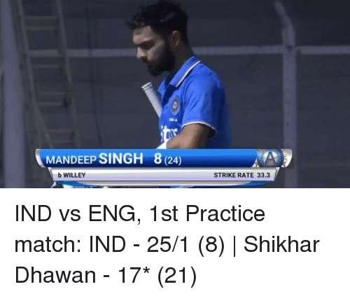 Rateing: MANDEEP SINGH 8 (24  b WILLEY  STRIKE RATE 33.3 IND vs ENG, 1st Practice match:  IND - 25/1 (8)   Shikhar Dhawan - 17* (21)