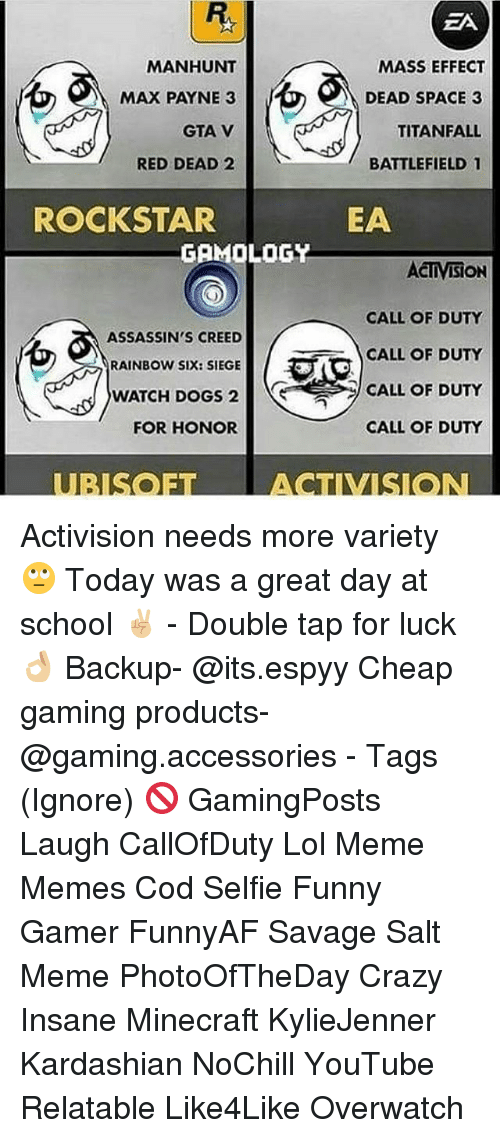 Crazy, Dogs, and Funny: MANHUNT  MAX PAYNE 3  GTA V  RED DEAD 2  ROCKSTAR  GAMOLOGY  ASSASSIN'S CREED  RAINBOW SIX: SIEGE  WATCH DOGS 2  FOR HONOR  EA  MASS EFFECT  DEAD SPACE 3  TITANFALL  BATTLEFIELD 1  EA  ACTIVISION  CALL OF DUTY  CALL OF DUTY  CALL OF DUTY  CALL OF DUTY Activision needs more variety 🙄 Today was a great day at school ✌🏼 - Double tap for luck 👌🏼 Backup- @its.espyy Cheap gaming products- @gaming.accessories - Tags (Ignore) 🚫 GamingPosts Laugh CallOfDuty Lol Meme Memes Cod Selfie Funny Gamer FunnyAF Savage Salt Meme PhotoOfTheDay Crazy Insane Minecraft KylieJenner Kardashian NoChill YouTube Relatable Like4Like Overwatch