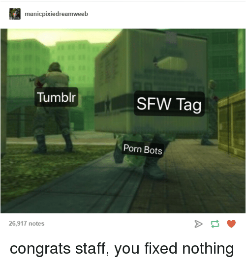 Tumblr, Porn, and Staff: manicpixiedreamweeb  Tumblr  SFW Tag  Porn Bots  26,917 notes congrats staff, you fixed nothing