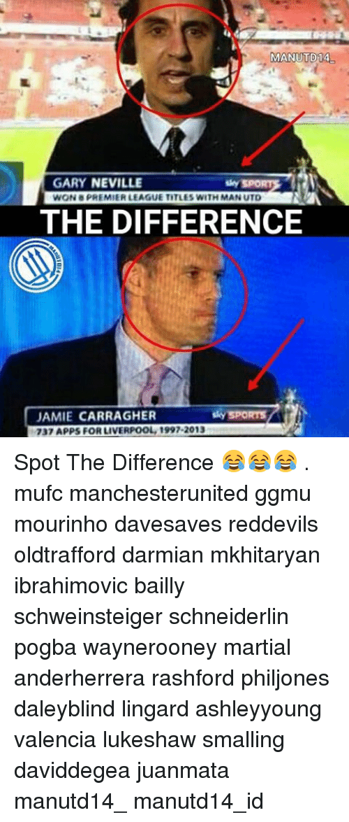 Memes, Premier League, and Martial: MANUTD14  GARY NEVILLE  WON PREMIER LEAGUE TITLES WITH MAN UTD  THE DIFFERENCE  JAMIE CARRAGHER  SPORTS  737 APPS FOR LIVERPOOL 1997-2013 Spot The Difference 😂😂😂 . mufc manchesterunited ggmu mourinho davesaves reddevils oldtrafford darmian mkhitaryan ibrahimovic bailly schweinsteiger schneiderlin pogba waynerooney martial anderherrera rashford philjones daleyblind lingard ashleyyoung valencia lukeshaw smalling daviddegea juanmata manutd14_ manutd14_id