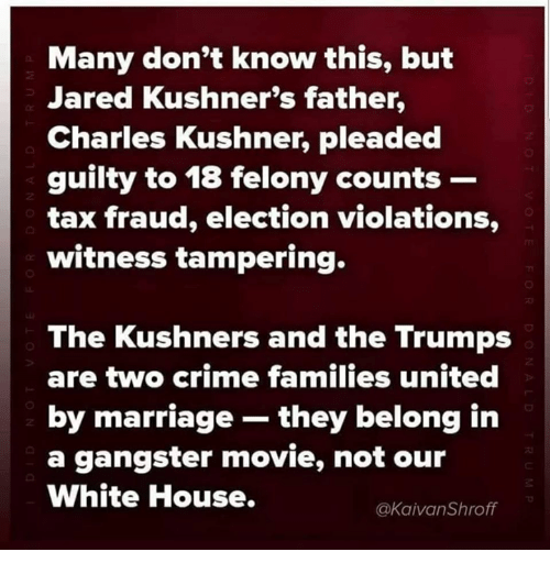 Crime, Marriage, and Memes: Many don't know this, but  Jared Kushner's father,  Charles Kushner, pleaded  guilty to 18 felony counts -  tax fraud, election violations,  witness tampering.  2  The Kushners and the Trumps  are two crime families united  by marriage they belong in  a gangster movie, not our  White House.  @kaivanShroff