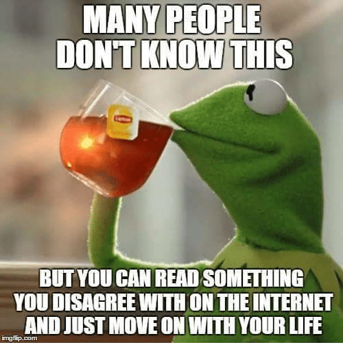 Internet, Life, and The Internet: MANY PEOPLE  DONTKNOW THIS  BUT YOU CAN READ SOMETHING  YOU DISAGREE WITH ON THE INTERNET  AND JUST MOVE ON WITH YOUR LIFE