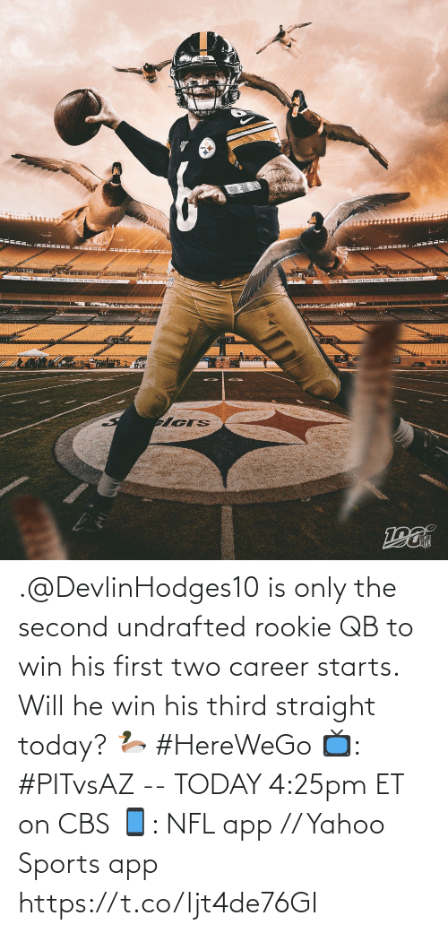 Pittsburgh Steelers: MAPPY HOLIOAYS FROM THE PITTSBURGH STEELERS  APPY HOLTDAYS FROM THE PITTSBURGN STEELERS .@DevlinHodges10 is only the second undrafted rookie QB to win his first two career starts. Will he win his third straight today? 🦆 #HereWeGo  📺: #PITvsAZ -- TODAY 4:25pm ET on CBS 📱: NFL app // Yahoo Sports app https://t.co/ljt4de76GI