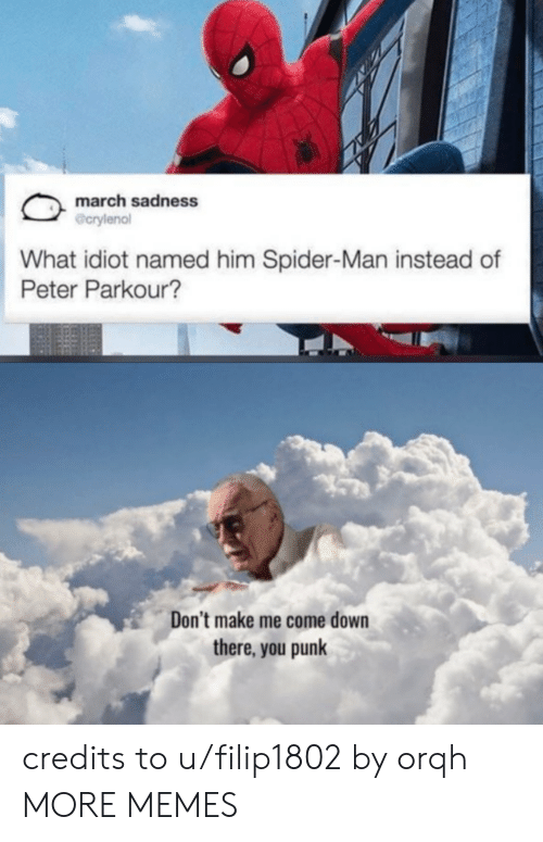 Dont Make Me: march sadness  @crylenol  What idiot named him Spider-Man instead of  Peter Parkour?  Don't make me come down  there, you punk credits to u/filip1802 by orqh MORE MEMES