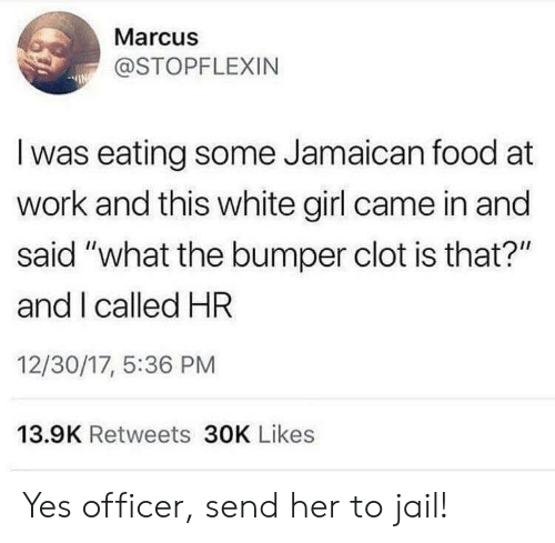 """17 5: Marcus  @STOPFLEXIN  Iwas eating some Jamaican food at  work and this white girl came in and  said """"what the bumper clot is that?""""  and I called HR  12/30/17, 5:36 PM  13.9K Retweets 30K Likes Yes officer, send her to jail!"""