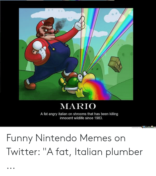"""Funny Mario Memes: MARIO  A fat angry italian on shrooms that has been killing  innocent wildlife since 1983.  Mmnttra Funny Nintendo Memes on Twitter: """"A fat, Italian plumber ..."""