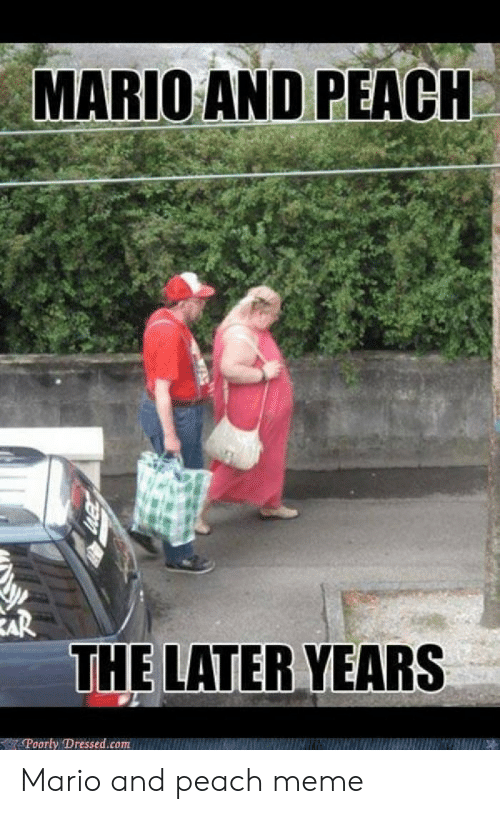 Funny Mario Memes: MARIO AND PEACI  EAR  THE LATER YEARS  Poorly Dressed.com Mario and peach meme