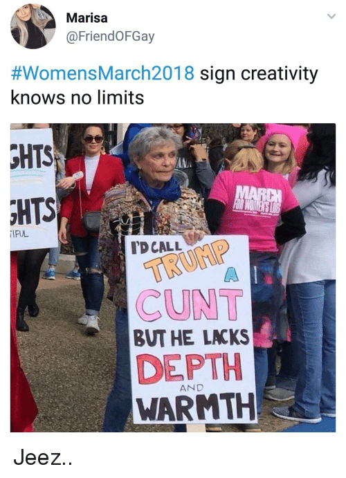lacks: Marisa  @FriendOFGay  #womensMarch2018 sign creativity  knows no limits  HTS  IFUL  TD CALL  CUNT  BUT HE LACKS  DEPTH  WARMTH  AND Jeez..