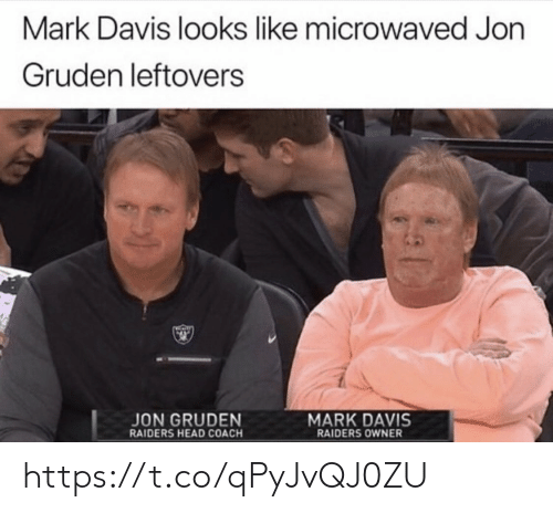 Head, Memes, and Raiders: Mark Davis looks like microwaved Jon  Gruden leftovers  MARK DAVIS  RAIDERS OWNER  JON GRUDEN  RAIDERS HEAD COACH https://t.co/qPyJvQJ0ZU