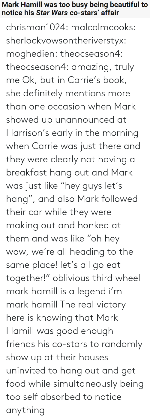 "together: Mark Hamill was too busy being beautiful to  notice his Star Wars co-stars' affair chrisman1024: malcolmcooks:  sherlockvowsontheriverstyx:  moghedien:  theocseason4:  theocseason4: amazing, truly me  Ok, but in Carrie's book, she definitely mentions more than one occasion when Mark showed up unannounced at Harrison's early in the morning when Carrie was just there and they were clearly not having a breakfast hang out and Mark was just like ""hey guys let's hang"", and also Mark followed their car while they were making out and honked at them and was like ""oh hey wow, we're all heading to the same place! let's all go eat together!""   oblivious third wheel mark hamill is a legend   i'm mark hamill   The real victory here is knowing that Mark Hamill was good enough friends his co-stars to randomly show up at their houses uninvited to hang out and get food while simultaneously being too self absorbed to notice anything"