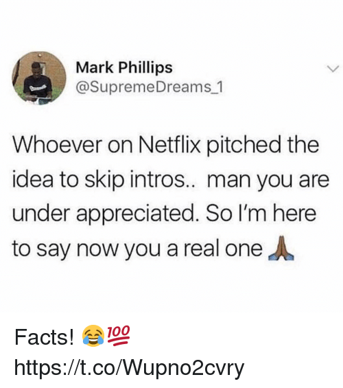 Facts, Netflix, and Idea: Mark Phillips  @SupremeDreams 1  Whoever on Netflix pitched the  idea to skip intros.. man you are  under appreciated. So I'm here  to say now you a real one Facts! 😂💯 https://t.co/Wupno2cvry