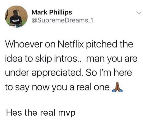phillips: Mark Phillips  @SupremeDreams_1  Whoever on Netflix pitched the  idea to skip intros.. man you are  under appreciated. So I'm here  to say now you a real one Hes the real mvp