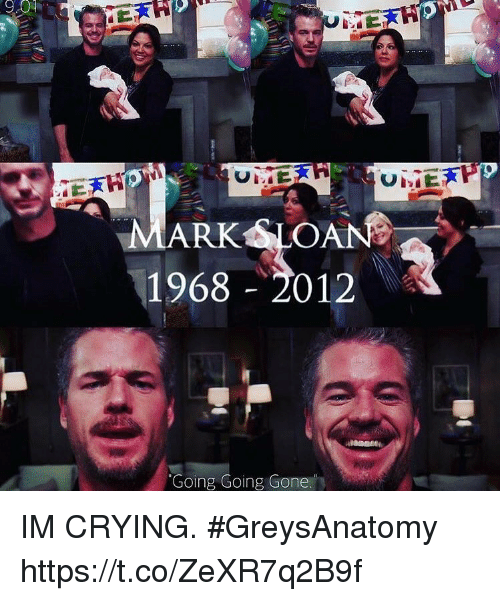 sloan: MARK SLOAN  1968 2012  Going Going Gone IM CRYING. #GreysAnatomy https://t.co/ZeXR7q2B9f