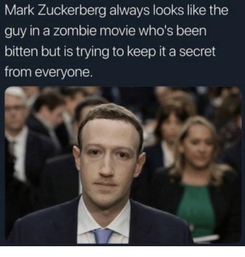 Mark Zuckerberg, Movie, and Zombie: Mark Zuckerberg always looks like the  guy in a zombie movie who's been  bitten but is trying to keep it a secret  from everyone.