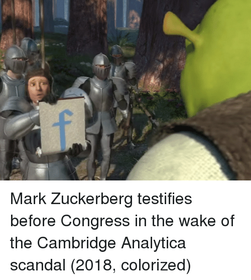 Mark Zuckerberg, Scandal, and Congress: Mark Zuckerberg testifies before Congress in the wake of the Cambridge Analytica scandal (2018, colorized)