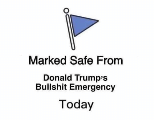Marked Safe: Marked Safe From  Donald Trump's  Bullshit Emergency  Today
