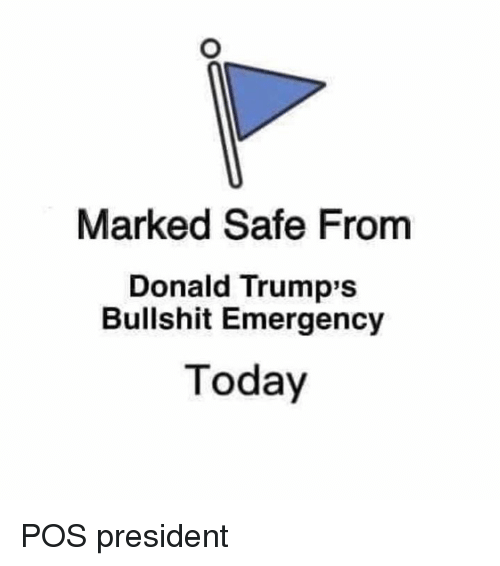 Marked Safe: Marked Safe From  Donald Trump's  Bullshit Emergency  Today POS president