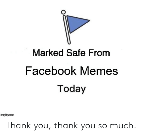 Marked Safe: Marked Safe From  Facebook Memes  Today  imgflipcom Thank you, thank you so much.