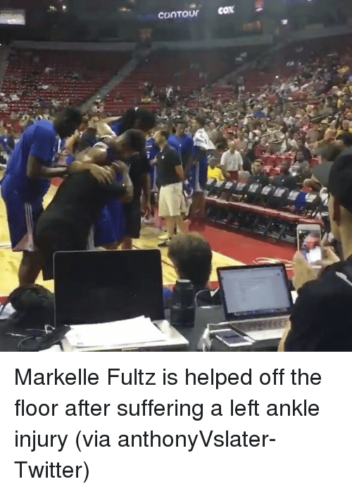 Sports, Twitter, and Suffering: Markelle Fultz is helped off the floor after suffering a left ankle injury (via anthonyVslater-Twitter)