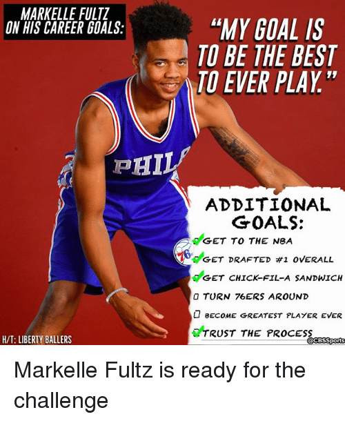 "Philadelphia 76ers, Chick-Fil-A, and Goals: MARKELLE FULTZ  ON HIS CAREER GOALS:  ""MY GOAL IS  TO BE THE BEST  TO EVER PLAY""  ADDITIONAL  GET TO THE NeA  GET CHICK-FIL-A SANDWICH  GOALS:  6deET DRAFTED #1 OVERALL  O TURN 76ERS AROUND  BECOME GREATEST PLAYER EVER  TRUST THE PROCESS  H/T: LIBERTY BALLERS  CBSSports Markelle Fultz is ready for the challenge"