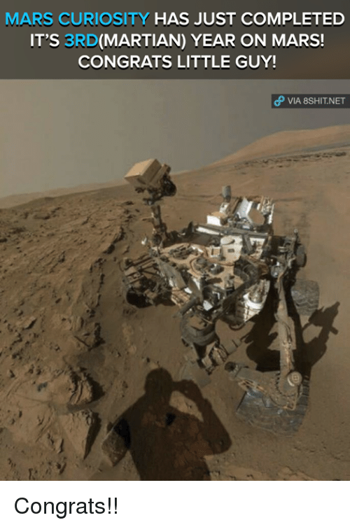 Congrations: MARS CURIOSITY  HAS JUST COMPLETED  IT'S 3RD  (MARTIAN) YEAR ON MARS!  CONGRATS LITTLE GUY!  VIA 8sHIT NET Congrats!!