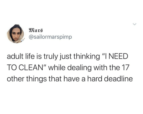 "Truly: Mars  @sailormarspimp  adult life is truly just thinking ""I NEED  TO CLEAN"" while dealing with the 17  other things that have a hard deadline"