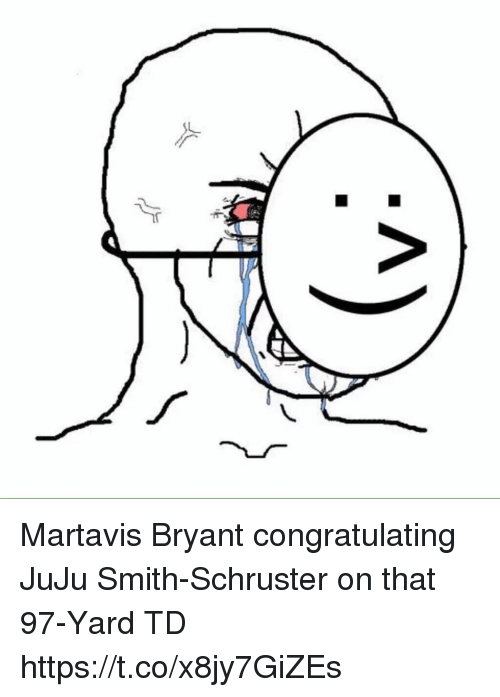 Football, Nfl, and Sports: Martavis Bryant congratulating JuJu Smith-Schruster on that 97-Yard TD https://t.co/x8jy7GiZEs