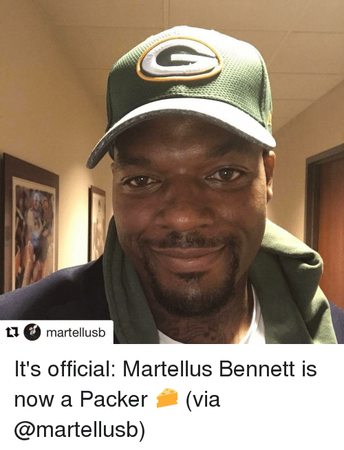 Sports, Packers, and Usb: martell usb It's official: Martellus Bennett is now a Packer 🧀 (via @martellusb)