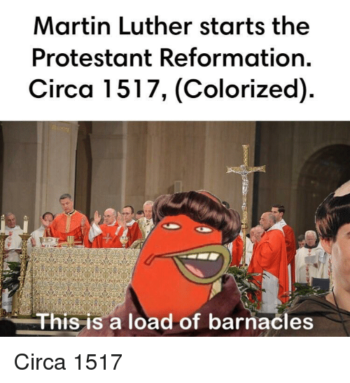 protestant: Martin Luther starts the  Protestant Reformation.  Circa 1517, (Colorized)  This is a load of barnacles Circa 1517