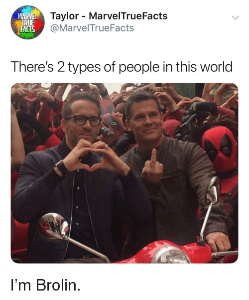 Facts, World, and This: MARVE  ylor - MarvelTrueFacts  FACTS  ALIS@MarvelTrueFacts  There's 2 types of people in this world I'm Brolin.
