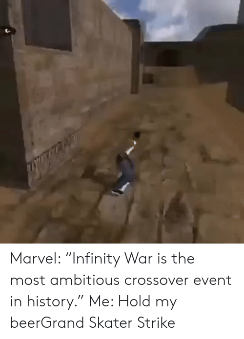 """event:   Marvel: """"Infinity War is the most ambitious crossover event in history."""" Me: Hold my beerGrand Skater Strike"""
