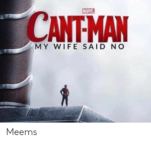 Marvel, Wife, and My Wife: MARVEL  CANTMAN  MY WIFE SAID NO Meems