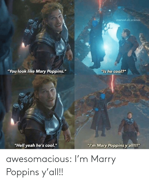 "Marvel: marvel.dc.scenes  ""You look like Mary Poppins.""  ""Is he cool?""  ""Hell yeah he's cool.""  ""I'm Mary Poppins y'all!!!"" awesomacious:  I'm Marry Poppins y'all!!"