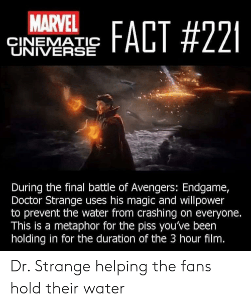 Doctor, Avengers, and Magic: MARVEL  FACT #221  ÇINEMATIC  UNIVERSE  During the final battle of Avengers: Endgame,  Doctor Strange uses his magic and willpower  to prevent the water from crashing on everyone.  This is a metaphor for the piss you've been  holding in for the duration of the 3 hour film. Dr. Strange helping the fans hold their water