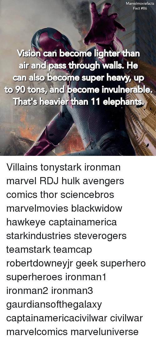 andie: Marvelmoviefacts  Vision can become lighter than  air and pass through walls. He  air andi pass through walls. He  can also become super heavy, up  to 90 tons, and become invulnerable.  That's heavien than 11 elephants Villains tonystark ironman marvel RDJ hulk avengers comics thor sciencebros marvelmovies blackwidow hawkeye captainamerica starkindustries steverogers teamstark teamcap robertdowneyjr geek superhero superheroes ironman1 ironman2 ironman3 gaurdiansofthegalaxy captainamericacivilwar civilwar marvelcomics marveluniverse