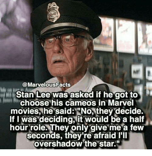 """Memes, Movies, and Stan: @MarvelousFacts  Stan Lee was asked if he got to  Choose his cameos in Marvel  movies, he said:""""No, they decide.  If I was deciding, it would be a half  hour role. They only give me a few  seconds, they're afraid I'll  overshadow 'the star."""