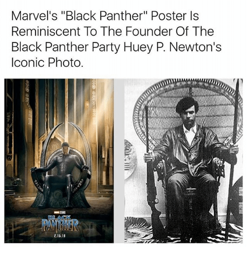 """reminiscent: Marvel's """"Black Panther"""" Poster Is  Reminiscent To The Founder Of The  Black Panther Party Huey P. Newton's  Iconic Photo.  2.16.18"""