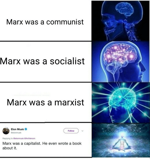 A Communist: Marx was a communist  Marx was a socialist  Marx was a marxist  Elon Musk  @elonmusk  Follow  Replying to @elonmusk @AntVenom  Marx was a capitalist. He even wrote a book  about it.