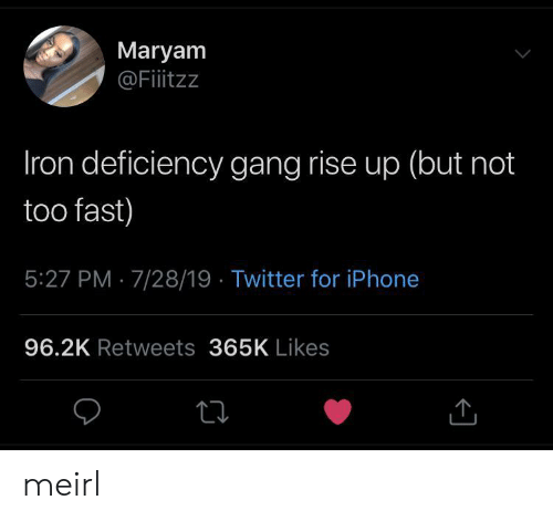 Iphone, Twitter, and Gang: Maryam  @Fitzz  Iron deficiency gang rise up (but not  too fast)  5:27 PM 7/28/19 Twitter for iPhone  96.2K Retweets 365K Likes meirl