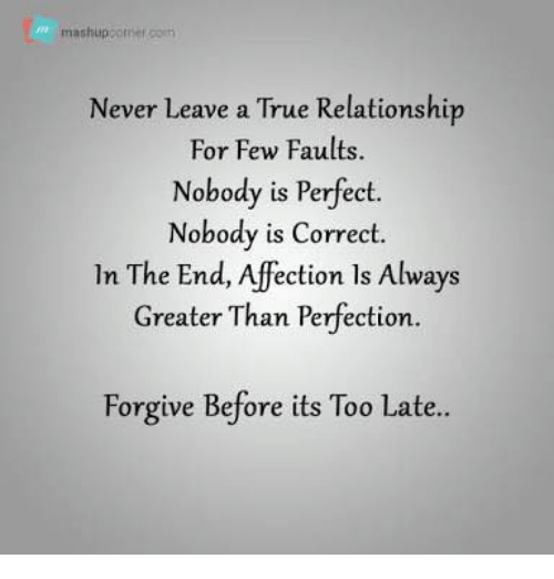 Memes, True, and Mashup: mashup orner som  Never leave a True Relationship  For Few Faults.  Nobody is Perfect.  Nobody is Correct.  In The End, ection ls Always  Greater Than Perfection.  Forgive Before its Too Late..