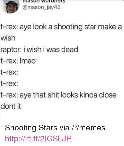 "shooting stars: mason Woronets  @mason_jay42  t-rex: aye look a shooting star make a  wish  raptor: i wish i was dead  t-rex: Imao  t-rex:  t-rex:  t-rex: aye that shit looks kinda close  dont it <p>Shooting Stars via /r/memes <a href=""http://ift.tt/2ICSLJR"">http://ift.tt/2ICSLJR</a></p>"