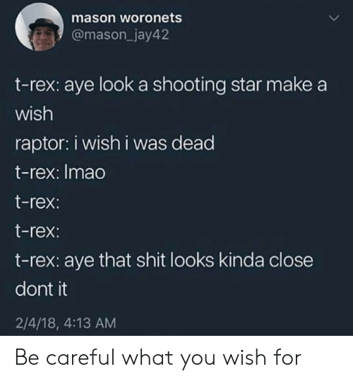 Shit, Star, and Be Careful: mason woronets  @mason_jay42  t-rex: aye look a shooting star make a  wish  raptor: i wish i was dead  t-rex: Imao  t-rex  t-rex:  t-rex: aye that shit looks kinda close  dont it  2/4/18, 4:13 AM Be careful what you wish for