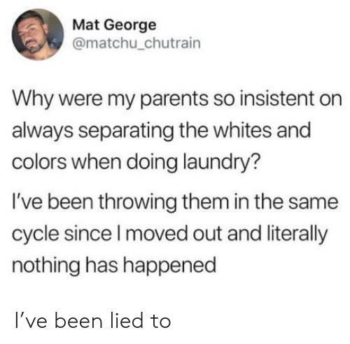 Whites: Mat George  @matchu_chutrain  Why were my parents so insistent on  always separating the whites and  colors when doing laundry?  I've been throwing them in the same  cycle since I moved out and literally  nothing has happened I've been lied to