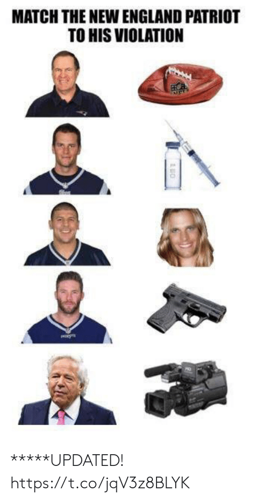 England, Match, and New England: MATCH THE NEW ENGLAND PATRIOT  TO HIS VIOLATION *****UPDATED! https://t.co/jqV3z8BLYK