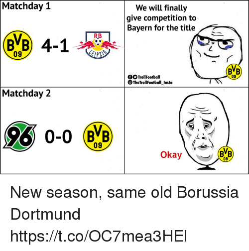 Memes, Okay, and Old: Matchday 1  We will finally  give competition to  Bayern for the title  RB  09  BB  09  fOTrollFootball  TheTrollFootball Instta  Matchday 2  09  Okay  09 New season, same old Borussia Dortmund https://t.co/OC7mea3HEl