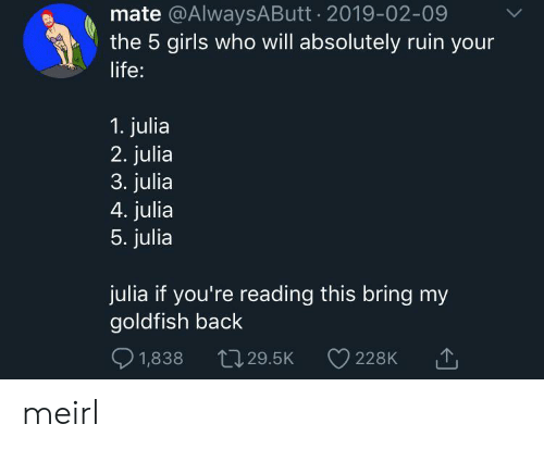 Goldfish: mate @AlwaysAButt 2019-02-09  the 5 girls who will absolutely ruin your  life:  1. julia  2. julia  3. julia  4. julia  5. julia  julia if you're reading this bring my  goldfish back  1,838  L29.5K  228K meirl