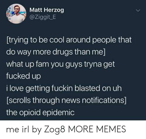 what up: Matt Herzog  @Ziggit_E  [trying to be cool around people that  do way more drugs than me]  what up fam you guys tryna get  fucked up  i love getting fuckin blasted on uh  [scrolls through news notifications]  the opioid epidemic me irl by Zog8 MORE MEMES