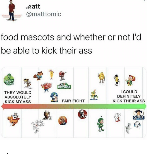 Ass, Definitely, and Food: Matt  @matttomic  food mascots and whether or not l'd  be able to kick their ass  Green  Gian  BOYARDEE  I COULD  THEY WOULD  DEFINITELY  ABSOLUTELY  FAIR FIGHT  KICK THEIR ASS  KICK MY ASS  KFC  QUAKER .