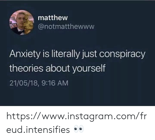 Instagram, Memes, and Anxiety: matthew  @notmatthewww  Anxiety is literally just conspiracy  theories about yourself  21/05/18, 9:16 AM https://www.instagram.com/freud.intensifies 👀